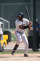 San Francisco Giants outfielder Jean Angomas (40) during a Minor League Spring Training game against the Oakland Athletics at Lew Wolff Training Complex on March 26, 2018 in Mesa, Arizona. (Zachary Lucy/Four Seam Images)
