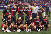 The MetroStars starting line up for a photograph prior to playing the Columbus Crew. The Crew defeated the MetroStars 1-0 on 4/12/03 at Giant's Stadium, East Rutherford, NJ.