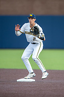 Michigan Wolverines shortstop Benjamin Sems (2) at second against the Ohio State Buckeyes on April 9, 2021 in NCAA baseball action at Ray Fisher Stadium in Ann Arbor, Michigan. Ohio State beat the Wolverines 7-4. (Andrew Woolley/Four Seam Images)