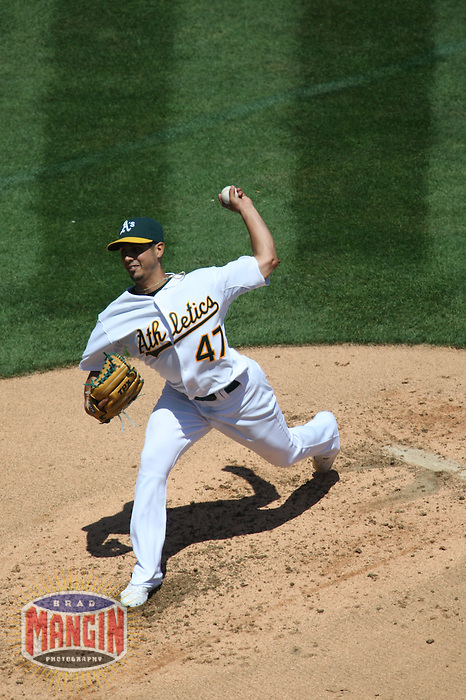 OAKLAND, CA - AUGUST 17:  Gio Gonzalez of the Oakland Athletics pitches during the game against the Chicago White Sox at the McAfee Coliseum in Oakland, California on August 17, 2008.  The White Sox defeated the Athletics 13-1.  Photo by Brad Mangin