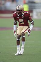 Boston College Eagles defensive back Albert Louis-Jean, Jr. (#5) during a game versus the Wake Forest Demon Deacons at Alumni Stadium in Chestnut Hill, Massachusetts on October 1, 2011.Wake Forest would defeat the Eagles 27-19.Photo By Ken Babbitt/Four Seam Images