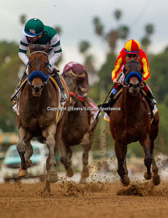 MAR 07: Victor Espinoza and Flagstaff win the San Carlos Stakes at Santa Anita Park in Arcadia, California on March 7, 2020. Evers/Eclipse Sportswire/CSM