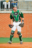 Charlotte 49ers catcher Brett Lang (6) on defense against the Virginia Commonwealth Rams at Robert and Mariam Hayes Stadium on March 30, 2013 in Charlotte, North Carolina.  The 49ers defeated the Rams 9-8 in game one of a double-header.  (Brian Westerholt/Four Seam Images)