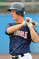 July 17, 2009: Outfielder Aaron Seuss (7) of the Potomac Nationals, Carolina League affiliate of the Washington Nationals, in a game against the Kinston Indians at G. Richard Pfitzner Stadium in Woodbridge, Va. Photo by: Tom Priddy/Four Seam Images