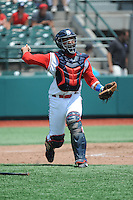 Brooklyn Cyclones catcher Adrian Abreu (2) during game 1 of a double header against the Hudson Valley Renegades at MCU Park on July 8, 2014 in Brooklyn, NY.  Brooklyn defeated Hudson Valley 3-0.  (Tomasso DeRosa/Four Seam Images)