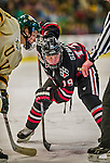 17 December 2013:  Northeastern University Huskies Forward Mike Szmatula, a Freshman from Commerce Township, MI, takes a face-off against the University of Vermont Catamounts at Gutterson Fieldhouse in Burlington, Vermont. The Huskies shut out the Catamounts 3-0 to end UVM's 5 game winning streak. Mandatory Credit: Ed Wolfstein Photo *** RAW (NEF) Image File Available ***