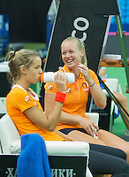 Moskou, Russia, Februari 4, 2016,  Fed Cup Russia-Netherlands,  Dutch team practise doubles   Kiki Bertens and Arantxa Rus (L)<br /> Photo: Tennisimages/Henk Koster