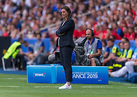 PARIS,  - JUNE 28: France head coach Corinne Diacre watches her team during a game between France and USWNT at Parc des Princes on June 28, 2019 in Paris, France.