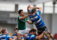 27th March 2021; Brentford Community Stadium, London, England; Gallagher Premiership Rugby, London Irish versus Bath; Ben Loader of London Irish and Charlie Ewels of Bath compete for the lineout ball