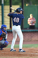 Elizabethton Twins Matt Wallner (48) at bat during a game against the Kingsport Mets at Northeast Community Credit Union Ballpark on July 5, 2019 in Elizabethton, Tennessee. The Twins defeated the Mets 7-1. (Tracy Proffitt/Four Seam Images)