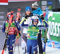 17th October 2020, Rettenbachferner, Soelden, Austria; FIS World Cup Alpine Skiing Womens Downhill; Federica Brignone (ITA) and Petra Vlhova (SVK) watch as Marta Bassino (ITA) celebrates her win