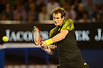 Andy Murray (GBR) defeats Roger Federer to advance to the finals of the Australian Open in Melbourne on January 25, 2013