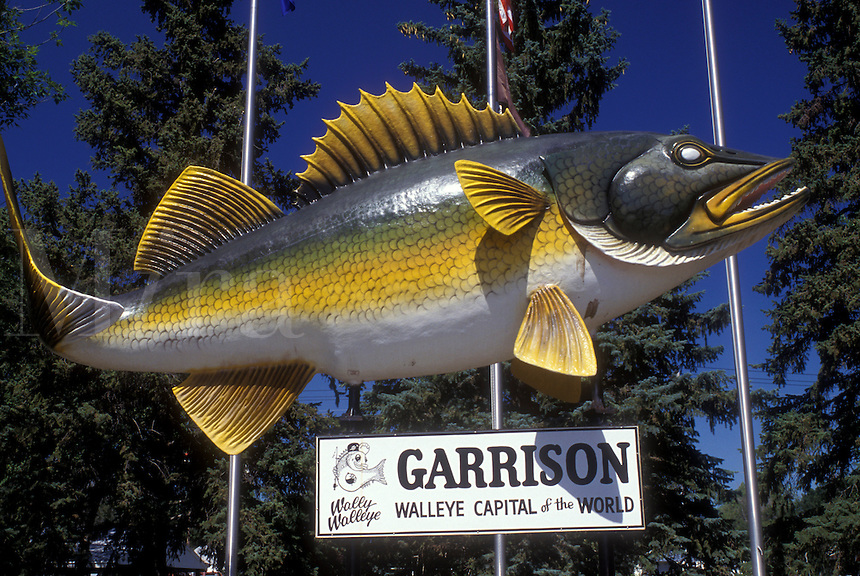 "AJ0445, North Dakota, fish, """"Wally Walleye"""" a huge replica of a walleyed pike in Garrison."