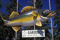 "AJ0445, North Dakota, fish, """"Wally Walleye"""" a huge replica of a walleyed pike in Garrison."