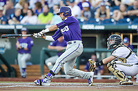 TCU Horned Frogs outfielder Dane Steinhagen (10) swings the bat against the Vanderbilt Commodores in Game 12 of the NCAA College World Series on June 19, 2015 at TD Ameritrade Park in Omaha, Nebraska. The Commodores defeated TCU 7-1. (Andrew Woolley/Four Seam Images)