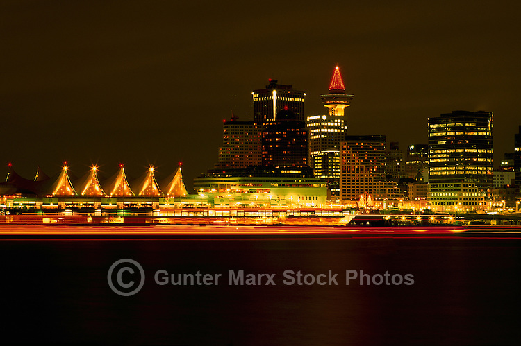 Vancouver, BC, British Columbia, Canada - Christmas Lights at Canada Place Trade and Convention Centre - Port of Vancouver Harbour