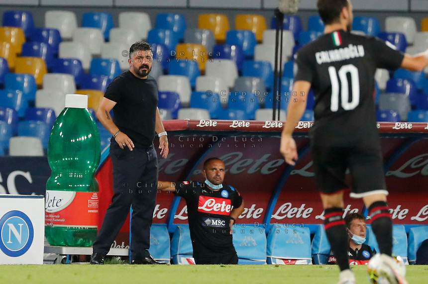 Gennaro Gattuso coach of Napoli   during the  italian serie a soccer match,  SSC Napoli - AC Milan       at  the San  Paolo   stadium in Naples  Italy , July 12, 2020
