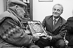 Soldier Giovanni Antonio Carta, Minister of Defence Arturo Parisi delivers a prize for having fought World war I and II. The perfect life of a soldier. The story of Giovanni Antonio Carta