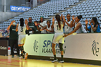 motivate players Nigeria before a basketball game between Nigeria and Puerto Rico on Friday 28 th of May 2021 in Kortrijk , Belgium . PHOTO SPORTPIX.BE | SPP | STIJN AUDOOREN