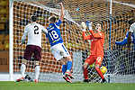 St Johnstone v Hearts…30.10.19   McDiarmid Park   SPFL<br />Ali McCann celebrates and Joel Pereira shows his frustration as the ball ends up in the net to give saints the lead from a Christophe Berra own goal<br />Picture by Graeme Hart.<br />Copyright Perthshire Picture Agency<br />Tel: 01738 623350  Mobile: 07990 594431
