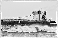 American Integrity Winter Departure<br /> The thousand footer, American Integrity, departed Duluth during the first winter storm of the season. This laker typically transports coal or iron ore on the Great Lakes, with a capacity of 78,850 tons.