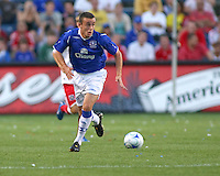 Everton FC midfielder Jose Baxter (11) dribbles the ball.  The Chicago Fire defeated English Premier League Team Everton FC 2-0 in a friendly match at Toyota Park in Bridgeview, IL, on July 30, 2008.