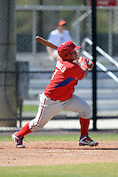 Philadelphia Phillies catcher Willians Astudillo (8) during a minor league spring training game against the Pittsburgh Pirates on March 18, 2014 at the Carpenter Complex in Clearwater, Florida.  (Mike Janes/Four Seam Images)