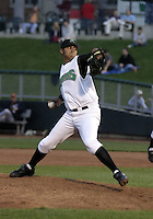 April 20, 2004:  Carlos Guevara of the Dayton Dragons, Midwest League (A) affiliate of the Cincinnati Reds, during a game at Fifth Third Field in Dayton, OH.  Photo by:  Mike Janes/Four Seam Images
