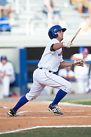 Kevin Kaczmarski (36) of the Kingsport Mets reaks his bat during the game against the Elizabethton Twins at Hunter Wright Stadium on July 9, 2015 in Kingsport, Tennessee.  The Twins defeated the Mets 9-7 in 11 innings. (Brian Westerholt/Four Seam Images)