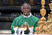 Ghanaian Cardinal Peter Kodwo Appiah Turkson attending a Mass for Pope Benedict XVI  in St. Peter's Basilica at the Vatican. The pope has appointed Turkson to head the Vatican's justice and peace office. The high-profile job cements Turkson's position as a possible future papal candidate.