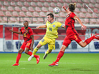 Marco Kana (16) of Belgium , Vyacheslav Shvyrev (19) of Kazakhstan  and Ewoud Pletinckx (4) of Belgium in action during a soccer game between the national teams Under21 Youth teams of Belgium and Kazakhstan on the third matday in group I for the qualification for the Under 21 EURO 2023 , on friday 8 th of october 2021  in Leuven , Belgium . PHOTO SPORTPIX | SEVIL OKTEM