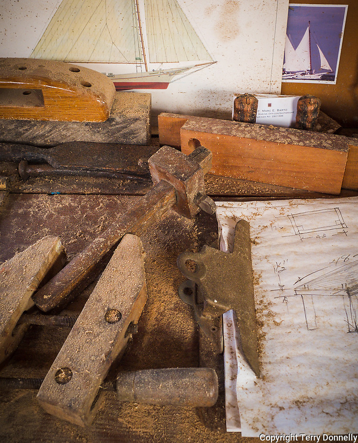 Chesapeake Bay Maritime Museum, St. Michaels, Maryland<br /> Sawdust covered tools and workbench detail in the museum's working boatyard