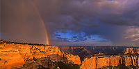 935000004 A panoramic view of a rainbow and clearing storm over Cape Royal on the North Rim of Grand Canyon National Park, Arizona.