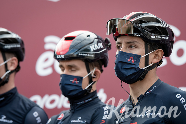 Egan Bernal (COL/Ineos Grenadiers) at the race start in Siena<br /> <br /> 15th Strade Bianche 2021<br /> ME (1.UWT)<br /> 1 day race from Siena to Siena (ITA/184km)<br /> <br /> ©kramon