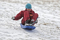 Pictured: A young woman sleighs in the snow in Storey Arms, Brecon Beacons, Wales, UK.<br /> Re: The Beast from the East wind has been affecting most parts of the UK with areas reaching temperatures below zero.