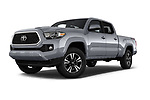 Stock pictures of low aggressive front three quarter view of a 2018 Toyota Tacoma TRD Sport Double Cab 4 Door Pick Up
