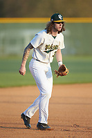 Central Cabarrus Vikings third baseman Evan McGee (3) takes infield prior to the game against the Carson Cougars at Central Cabarrus High School on March 16, 2018 in Concord, North Carolina.  The Cougars defeated the Vikings 9-1.  (Brian Westerholt/Four Seam Images)
