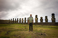 Rapa Nui, Easter island, oct 2011. Valentin Riroroko (79) elegido Rey de Rapa Nui, visitando el sector de Ahu Tongariki. In Rapa Nui, also called Easter Island, the  king of the original people is back after a hundred years RirorokoTuki Valentino, the new monarch, is  an old man who has made his living as a farmer and fisherman and  traveled the world as a ship´s stowaways . <br /> He lives in a modest house in a rural area of the island near their 8 children and 24grandchildren.<br /> He was proclaimed King by the Assembly of Rapa Nui in July, and his reign has aunique purpose:  to finish with the Treaty of Wills from  1888, by which Chile took possession of Easter Island. The demand for Valentino and people ask seeks for Independence and also a billionare suit against Chilean state  for a century of apartheid and discrimination.