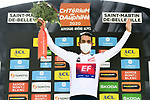 Daniel Martinez (COL) EF Pro Cycling takes over the White Jersey at the end of Stage 3 of Criterium du Dauphine 2020, running 157km from Corenc to Saint-Martin-de-Belleville, France. 14th August 2020.<br /> Picture: ASO/Alex Broadway | Cyclefile<br /> All photos usage must carry mandatory copyright credit (© Cyclefile | ASO/Alex Broadway)