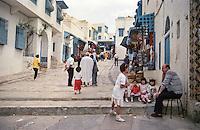 Tunisia, Sidi Bou Said.  Street leading to the Caffe des Nattes and the Mosque of Sidi Bou Said.