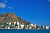Waikiki Gold coast with Diamond head, Oahu