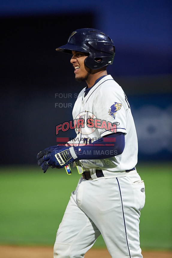 Tri-City Dust Devils Alison Quintero (31) during a Northwest League game against the Vancouver Canadians at Gesa Stadium on August 21, 2019 in Pasco, Washington. Vancouver defeated Tri-City 1-0. (Zachary Lucy/Four Seam Images)