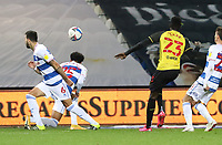 Ismaila Sarr of Watford shot goes wide during Queens Park Rangers vs Watford, Sky Bet EFL Championship Football at The Kiyan Prince Foundation Stadium on 21st November 2020