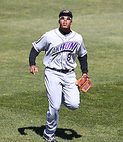 Akron Aeros outfielder Thomas Neal #8 during a game against the Binghamton Mets at NYSEG Stadium on April 7, 2012 in Binghamton, New York.  Binghamton defeated Akron 2-1.  (Mike Janes/Four Seam Images)