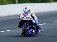 May 14, 2011; Commerce, GA, USA: NHRA pro stock motorcycle rider Hector Arana Jr. during qualifying for the Southern Nationals at Atlanta Dragway. Mandatory Credit: Mark J. Rebilas-