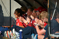 The England dugout celebrates winning during the first international women's T20 cricket match between the New Zealand White Ferns and England at Sky Stadium in Wellington, New Zealand on Wednesday, 3 March 2021. Photo: Dave Lintott / lintottphoto.co.nz