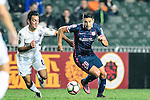 Thomas Lam of SC Kitchee (R) is chased by Cameron Neru of Auckland City (L) during the Nike Lunar New Year Cup 2017 match between SC Kitchee (HKG) and Auckland City FC (NZL) on January 31, 2017 in Hong Kong, Hong Kong. Photo by Marcio Rodrigo Machado / Power Sport Images
