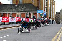 3rd October 2021; London, England: The Virgin Money 2021 London Marathon: Jordi Madera Jimenez  of Spain crossing Narrow Street Swing Bridge, Limehouse Basin between mile 14 and 15.