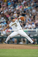 Michigan Wolverines pitcher Willie Weiss (20) delivers a pitch to the plate against the Vanderbilt Commodores during Game 2 of the NCAA College World Series Finals on June 25, 2019 at TD Ameritrade Park in Omaha, Nebraska. Vanderbilt defeated Michigan 4-1. (Andrew Woolley/Four Seam Images)
