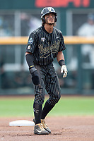 Vanderbilt Commodores third baseman Austin Martin (16) tags up at second base during Game 8 of the NCAA College World Series against the Mississippi State Bulldogs on June 19, 2019 at TD Ameritrade Park in Omaha, Nebraska. Vanderbilt defeated Mississippi State 6-3. (Andrew Woolley/Four Seam Images)